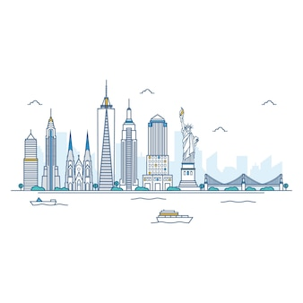 Illustrazione di new york skyline.