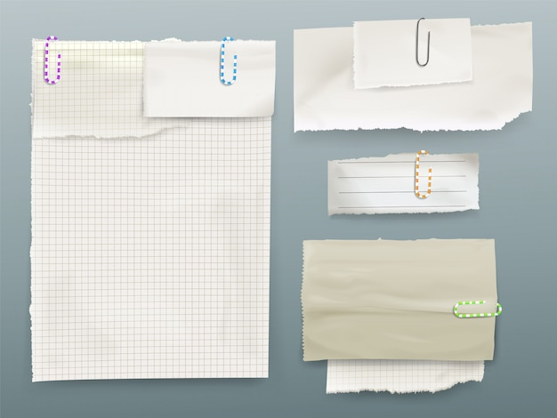Illustrazione di note di messaggio di carta di fogli e pezzi di carta su clip.