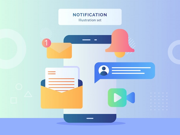 Illustrazione di notifica imposta smartphone con messaggio di notifica e-mail campana chat videochiamata stile piatto.