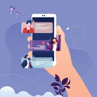 Illustrazione di notifiche del messaggio di chat dello smartphone