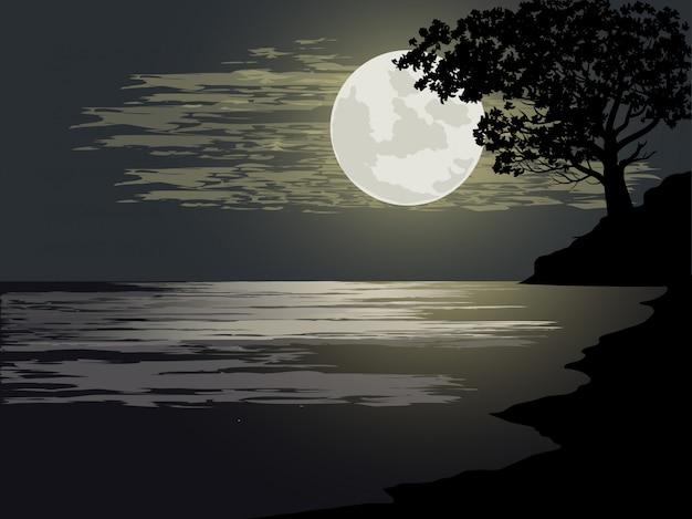 Illustrazione di notte al mare con la luna piena
