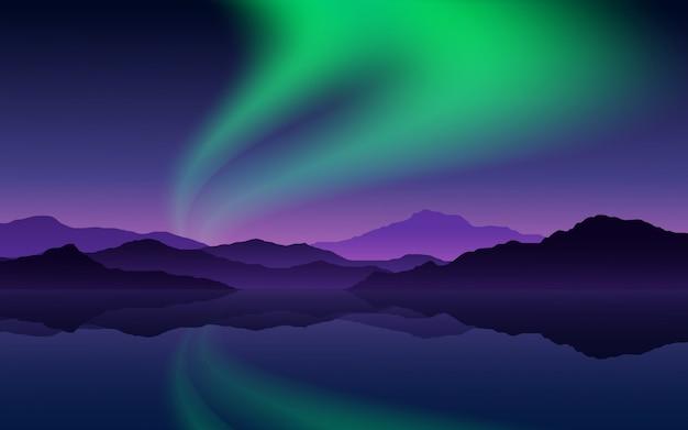 Illustrazione di notte con montagna e aurora