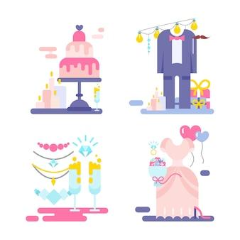Illustrazione di nozze di invito con set di icone.