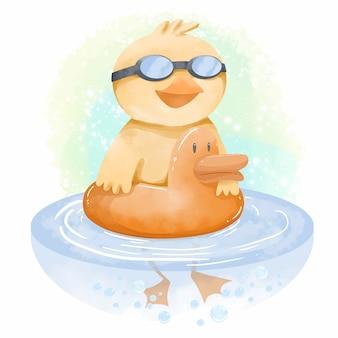 Illustrazione di nuoto carino anatra