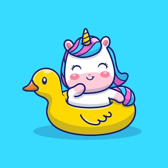 Illustrazione di nuoto unicorno carino. personaggio dei cartoni animati della mascotte unicorno. concetto animale isolato