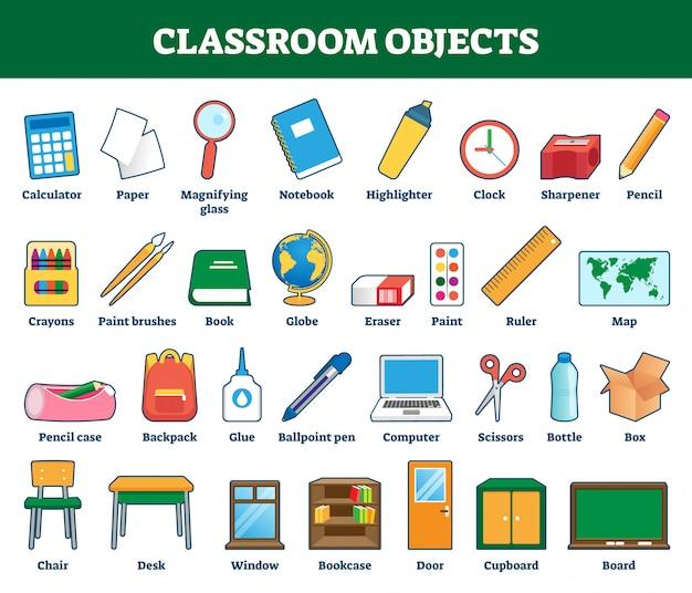 Illustrazione di oggetti di classe. collezione con etichetta per l'apprendimento dei bambini