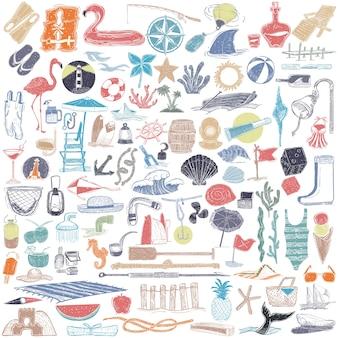 Illustrazione di oggetti estate e spiaggia