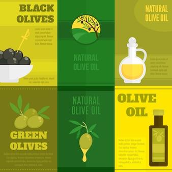 Illustrazione di olive con set modello di testo
