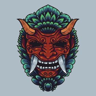 Illustrazione di opere d'arte della cultura balinese di barong con colori dettagliati