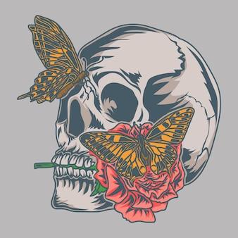 Illustrazione di opere d'arte e maglietta design teschio con rose e farfalle