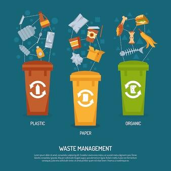 Illustrazione di ordinamento della spazzatura