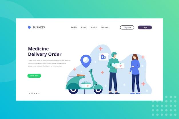 Illustrazione di ordine di consegna della medicina per il concetto medico alla pagina di destinazione