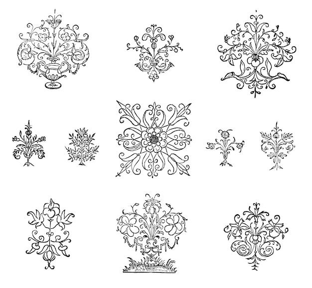 Illustrazione di ornamento fiorire d'epoca