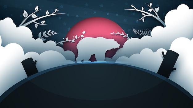 Illustrazione di orso dei cartoni animati. paesaggio di carta