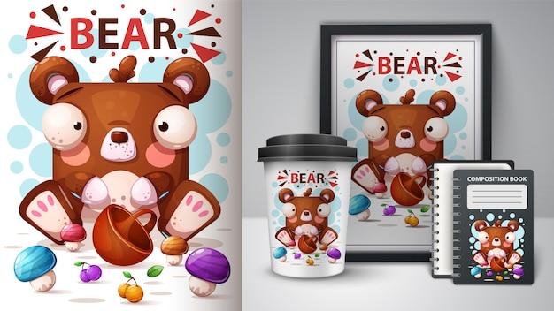 Illustrazione di orso simpatico cartone animato