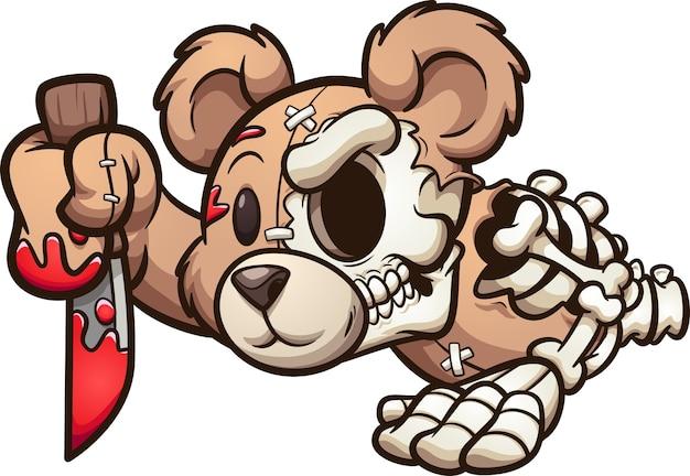Illustrazione di orso zombie