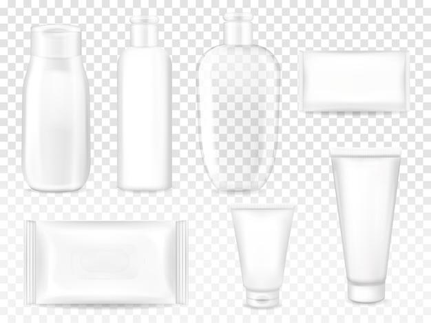 Illustrazione di pacchetti cosmetici di shampoo o lozione bottiglia di plastica, tubo crema viso o sapone