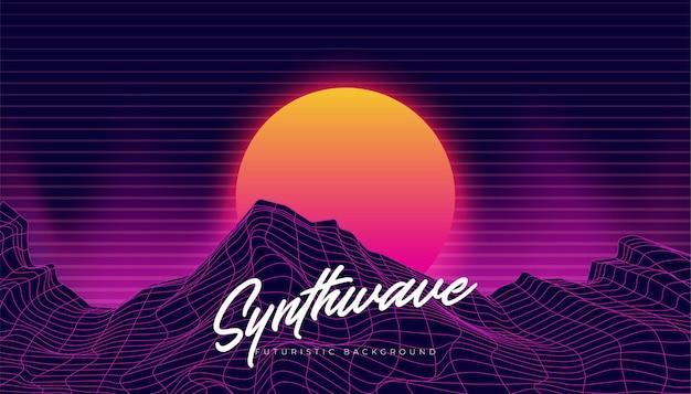 Illustrazione di paesaggio 80s del fondo dello sfondo di synthwave 3d