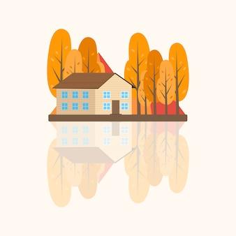 Illustrazione di paesaggio autunnale