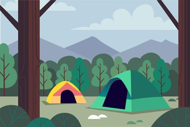 Illustrazione di paesaggio di area di campeggio