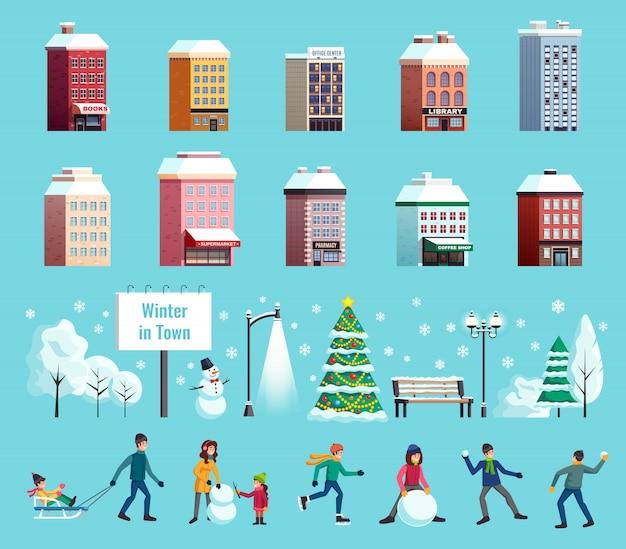 Illustrazione di paesaggio di città invernale