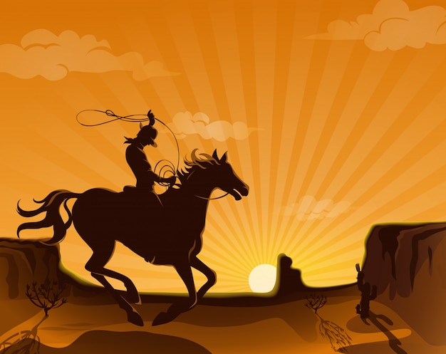 Illustrazione di paesaggio selvaggio west