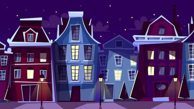 Illustrazione di paesaggio urbano di amsterdam. cartoon strade e case notturne di amsterdam