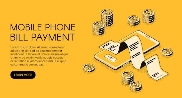 Illustrazione di pagamento della bolletta del telefono cellulare di smartphone con soldi e ricevuta della fattura.