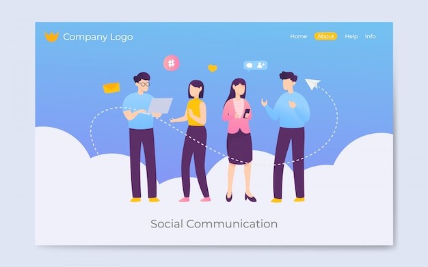 Illustrazione di pagina di atterraggio di comunicazione di mezzi di comunicazione sociale moderno stile piano