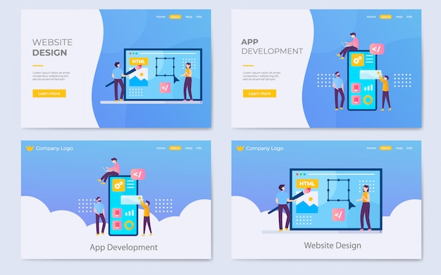 Illustrazione di pagina di atterraggio di sviluppo sito web e app moderna moderna