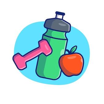 Illustrazione di palestra e fitness. bottiglia d'acqua, manubri e mela. concetto di palestra bianco isolato