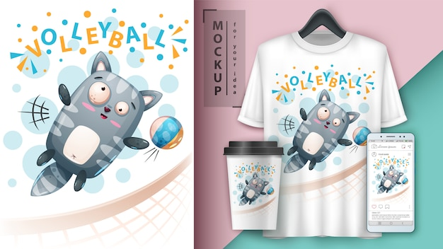 Illustrazione di pallavolo gattino di sport