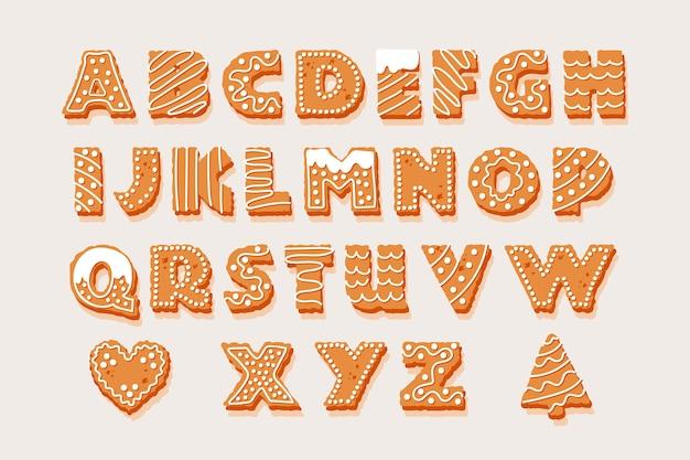 Illustrazione di panpepato alfabeto di natale