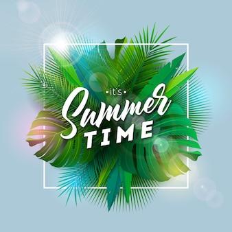 Illustrazione di paradiso tropicale di estate con foglie di palma esotiche