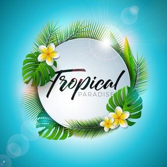 Illustrazione di paradiso tropicale di estate con tipografia lettera e piante esotiche