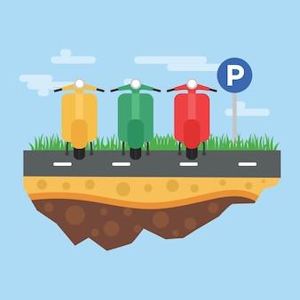 Illustrazione di parcheggio del motociclo