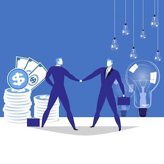 Illustrazione di partnership commerciale, piatta