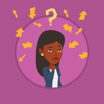 Illustrazione di pensiero di vettore della giovane donna di affari.