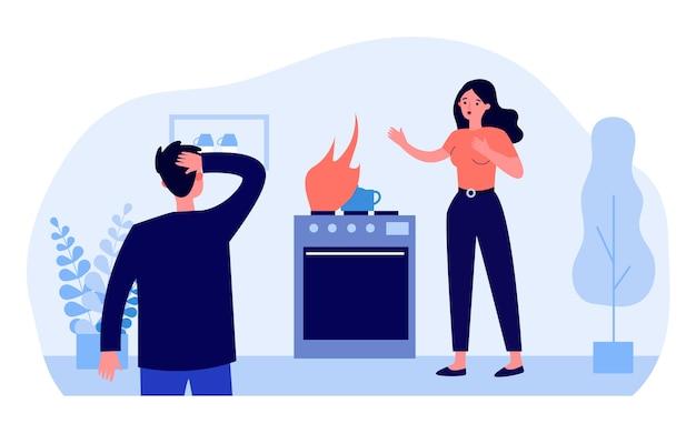 Illustrazione di perdite di gas a casa
