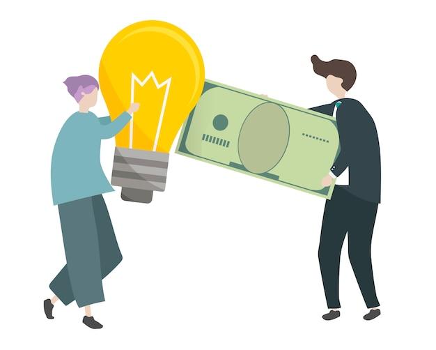 Illustrazione di personaggi che scambiano denaro con idee