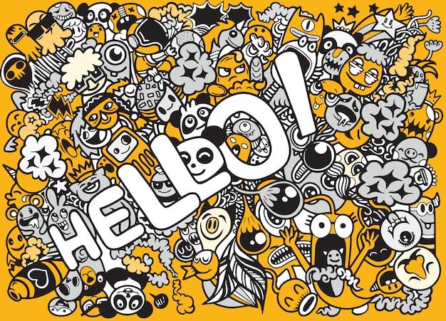 Illustrazione di personaggi doodle disegnato a mano con la parola