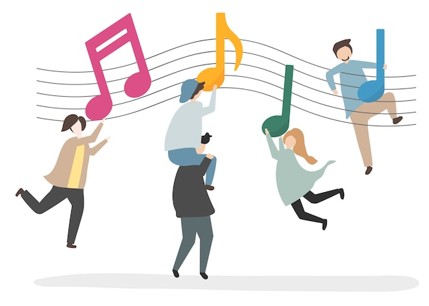 Illustrazione di personaggi e note musicali