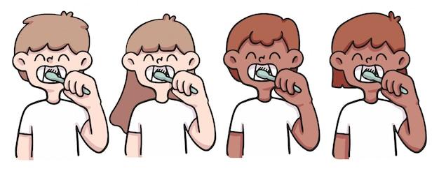 Illustrazione di persone carina lavarsi i denti