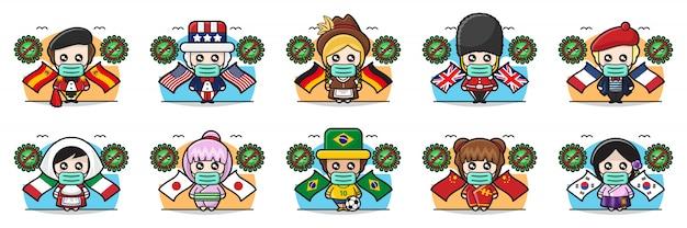 Illustrazione di persone carine in tutto il mondo contro il virus