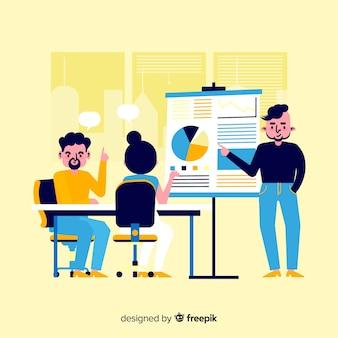 Illustrazione di persone che lavorano in ufficio