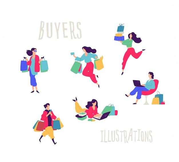 Illustrazione di persone con acquisti.