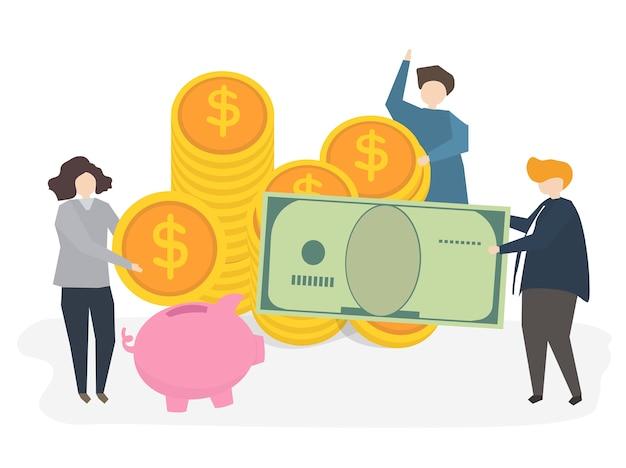Illustrazione di persone con denaro