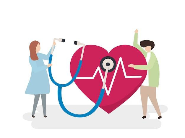 Illustrazione di persone con un cuore sano