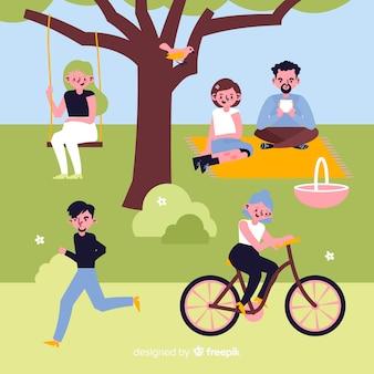 Illustrazione di persone nel parco