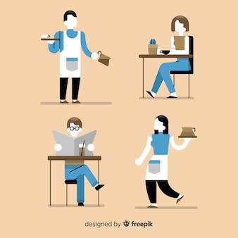 Illustrazione di persone sedute in un caffè
